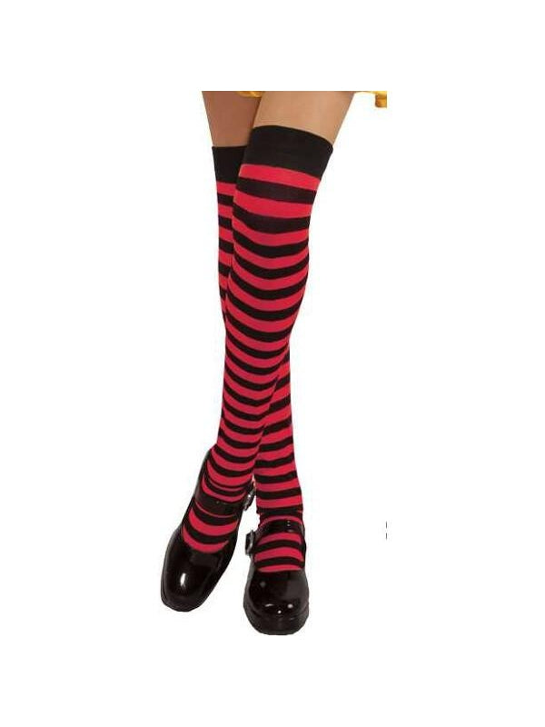 Childs Black & Red Stripped Over The Knee Stockings-COSTUMEISH