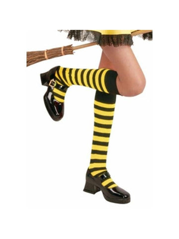 Childs Black & Yellow Knee High Striped Socks