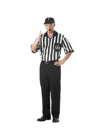 Adult Referee Shirt And Hat Costume