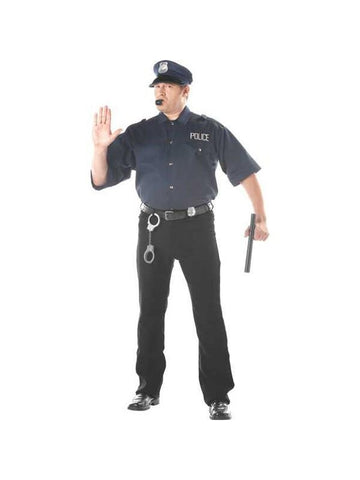 Adult Plus Size Cop Shirt And Hat Costume-COSTUMEISH