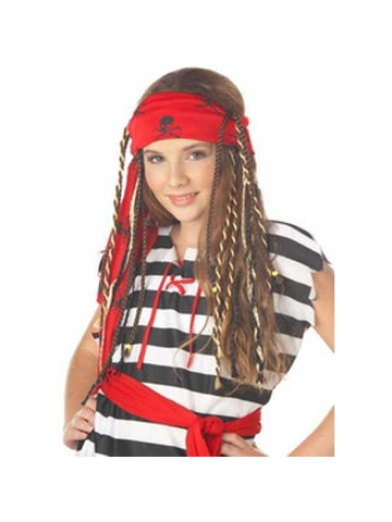Childs Buccaneer Pirate Wig With Braids-COSTUMEISH