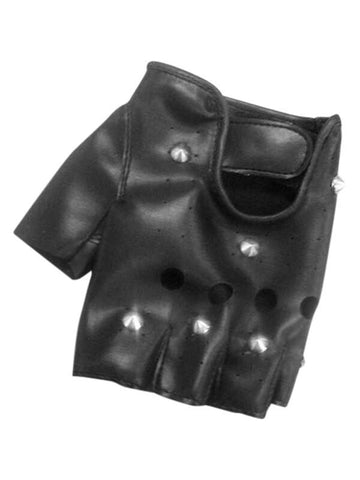 Adult Black Fingerless Studded Gloves