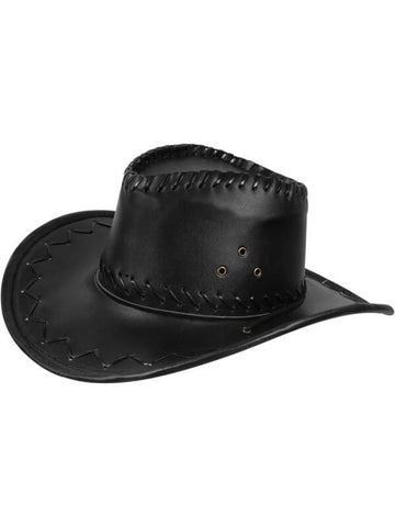 Adult Black Leather Cowboy Hat-COSTUMEISH