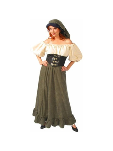 Adult Green Renaissance Peasant Lady Costume-COSTUMEISH