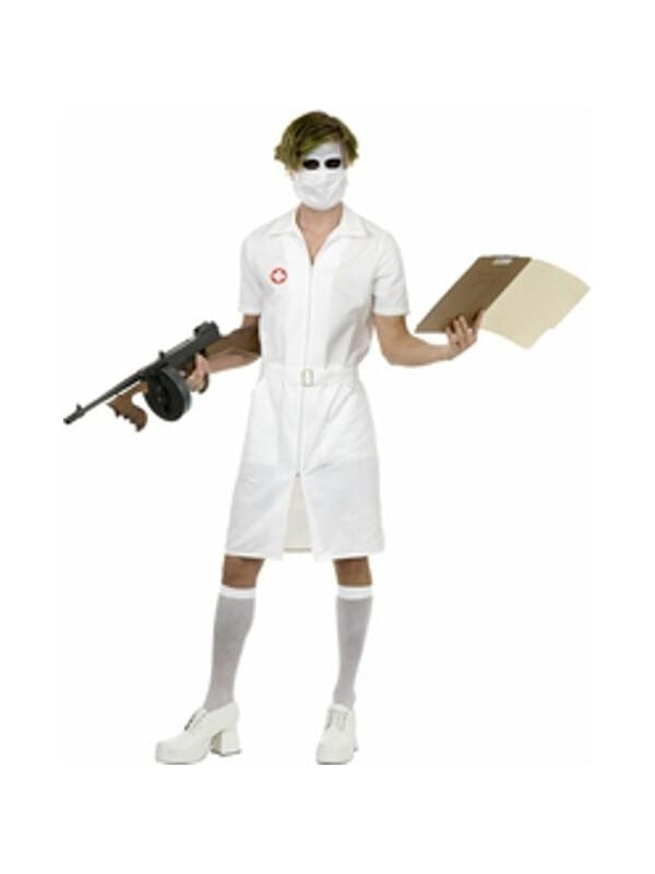 Adult Joker Nurse Costume-COSTUMEISH