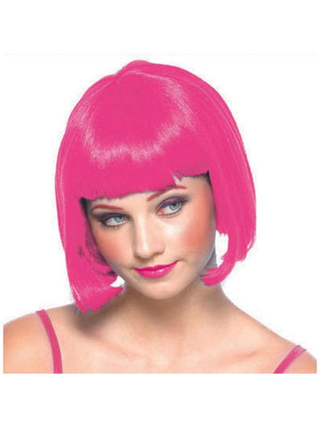 Women's Pink Bob Wig with Bangs