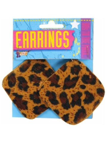 Adult 80's Style Leopard Print Earrings