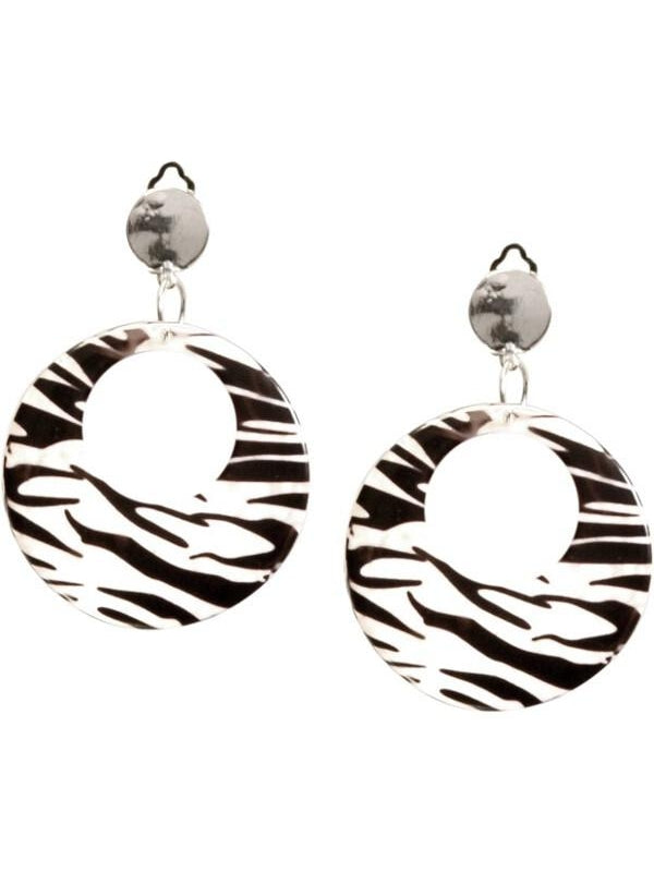 Adult 80's Style Zebra Print Earrings-COSTUMEISH