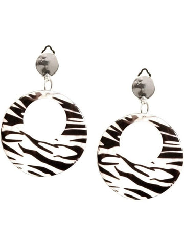 Adult 80's Style Zebra Print Earrings