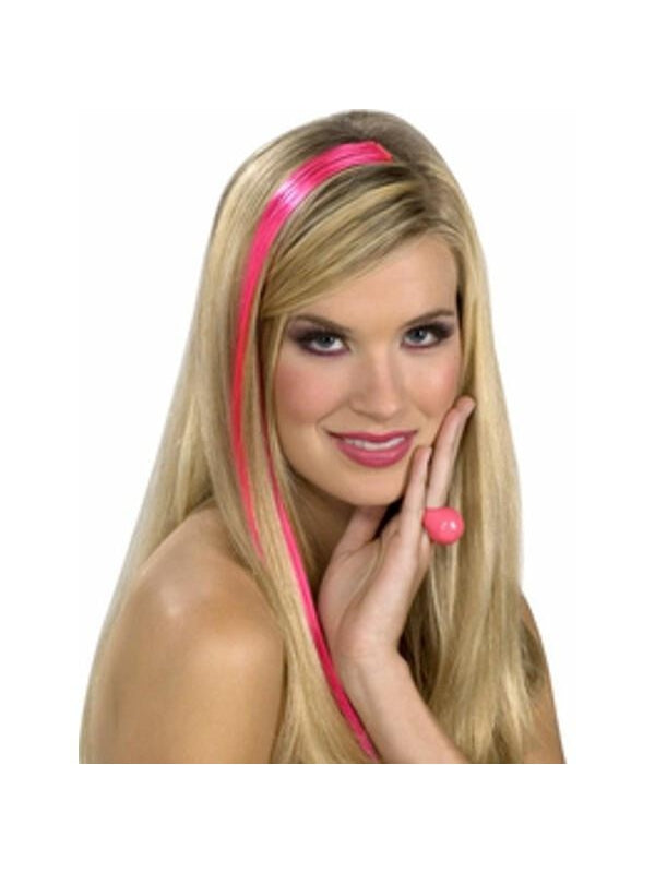Adult 80's Style Neon Pink Hair Extention Kit-COSTUMEISH