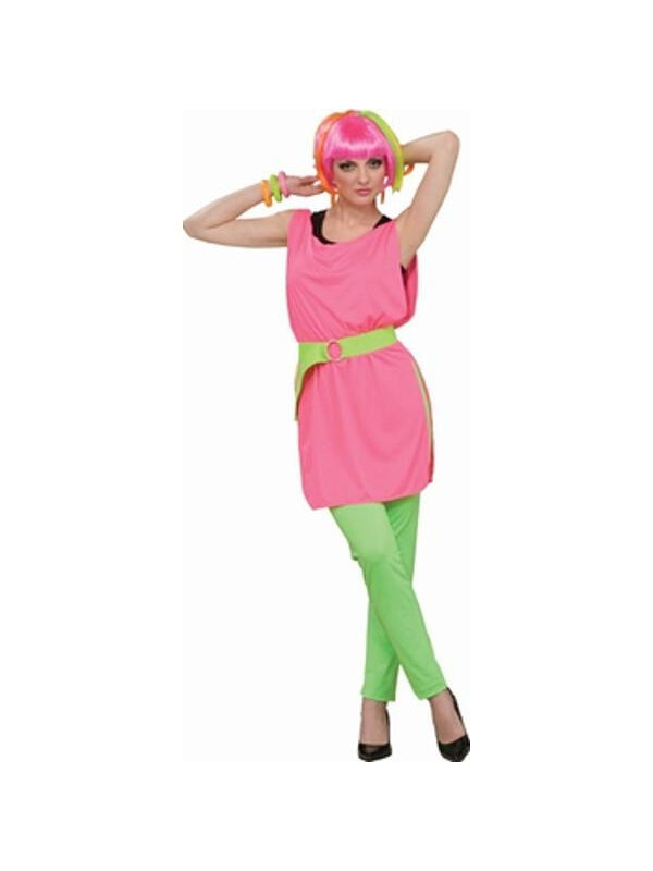 Adult 80's Style Neon Pink Tunic-COSTUMEISH