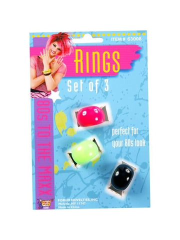 Adult 80's Style Neon Ring Set