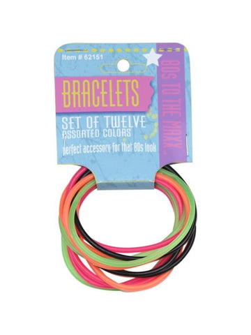 Adult Neon 80's Style Jelly Bracelet Set-COSTUMEISH