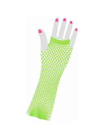 Adult Long 80's Style Green Neon Fishnet Gloves-COSTUMEISH