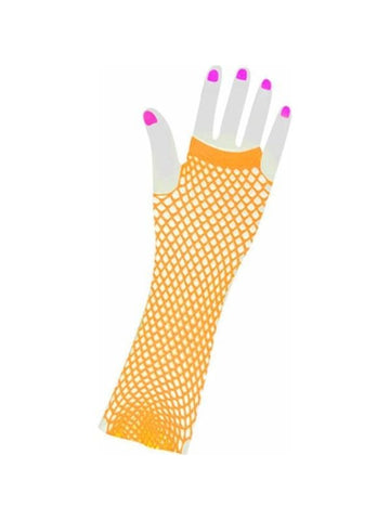 Adult Long 80's Style Orange Neon Fishnet Gloves-COSTUMEISH