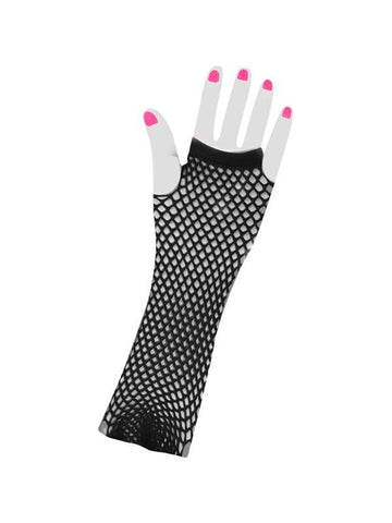 Adult Long 80's Style Black Neon Fishnet Gloves-COSTUMEISH