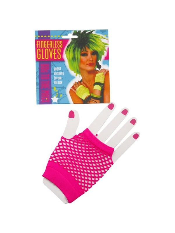Adult Short Neon Pink Fingerless Fishnet Gloves-COSTUMEISH