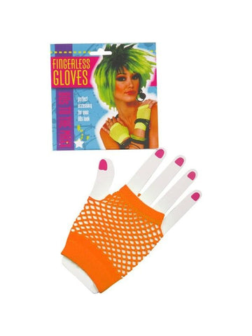 Adult Short Neon Orange Fingerless Fishnet Gloves
