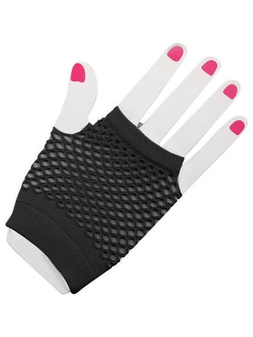 Adult Short Black Fingerless Fishnet Gloves-COSTUMEISH