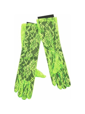 Adult 80's Style Neon Green Lace Gloves-COSTUMEISH