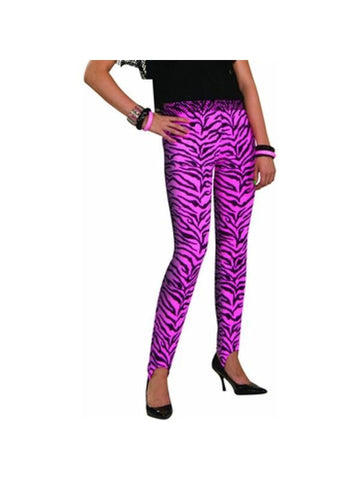 Adult 80's Style Pink Zebra Pants