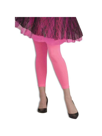 Adult 80's Style Neon Pink Leggings-COSTUMEISH