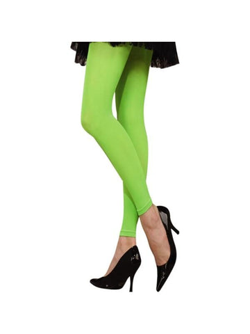Adult 80's Style Neon Green Leggings