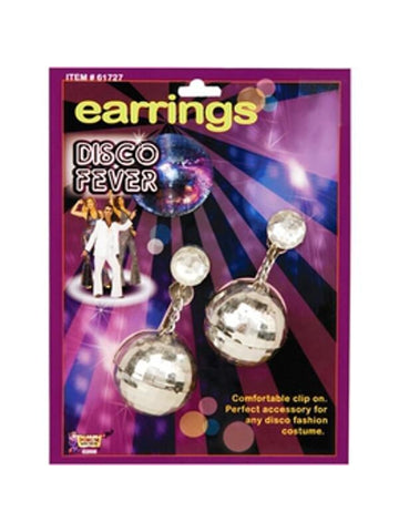 Adult 70's Style Silver Disco Ball Earrings