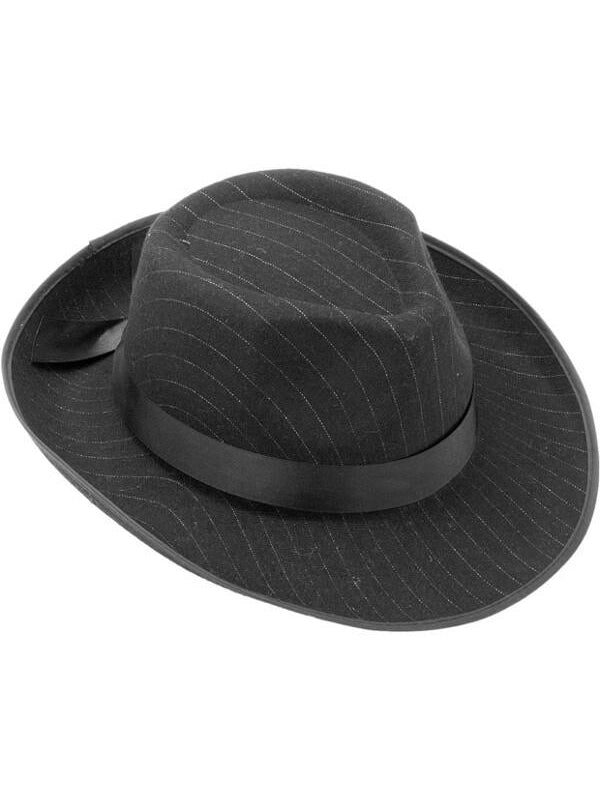 Adult Pin Striped Gangster Fedora Hat-COSTUMEISH