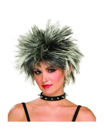 Adult Black And White Spiked 80's Wig