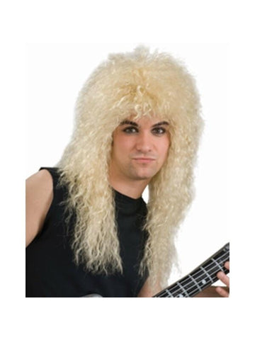 Adult 80's Style Blonde Rock Band Wig