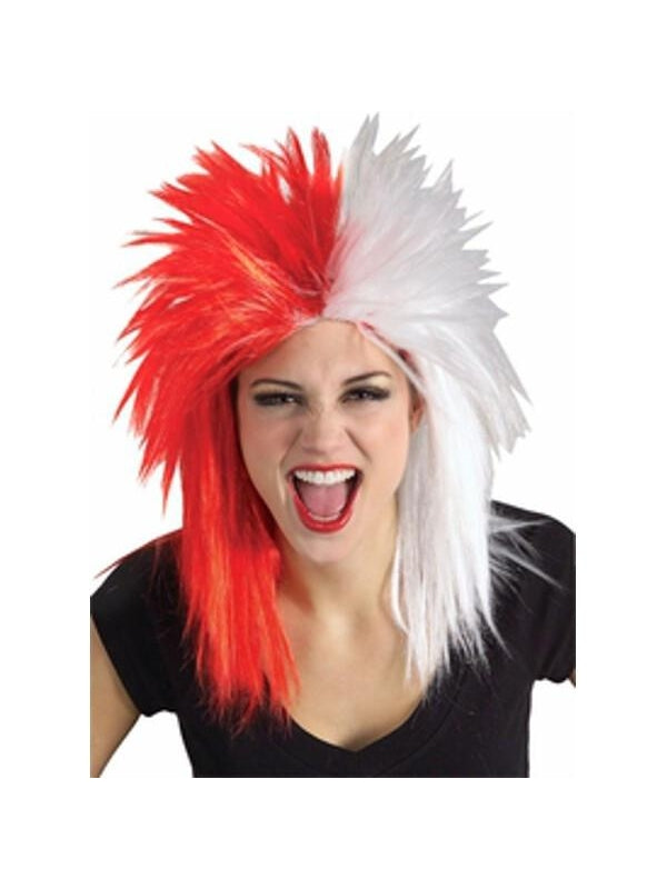 Sports Fan Red and White Wig-COSTUMEISH