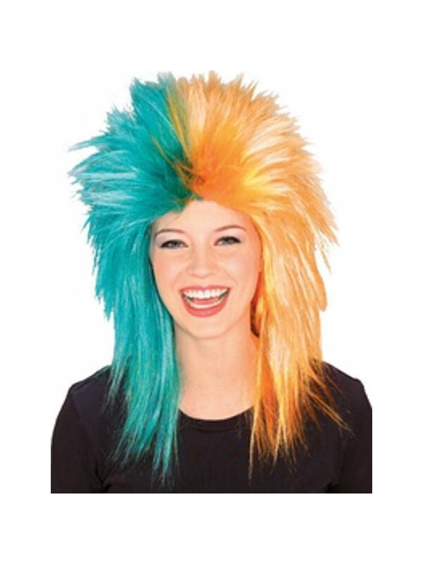 Sports Fan Teal and Orange Wig-COSTUMEISH