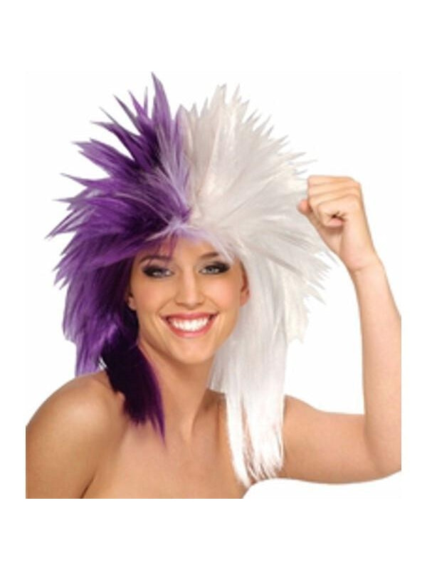 Sports Fan Purple and White Wig-COSTUMEISH