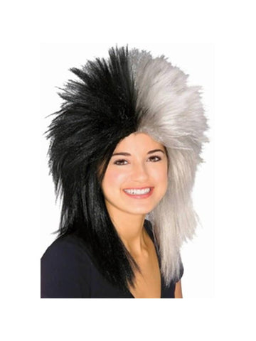 Sports Fan Black and White Wig-COSTUMEISH