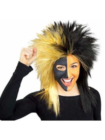 Sports Fan Black and Gold Wig