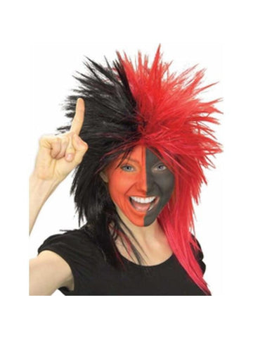Sports Fan Black and Red Wig-COSTUMEISH