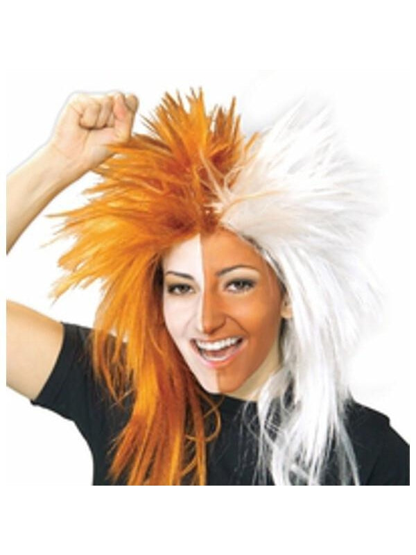 Sports Fan Orange and White Wig-COSTUMEISH