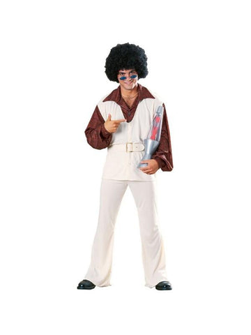 Adult 70s White Polyester Leisure Suit Costume-COSTUMEISH