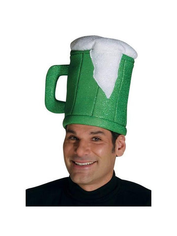 Adult Green Beer Mug Costume Hat-COSTUMEISH