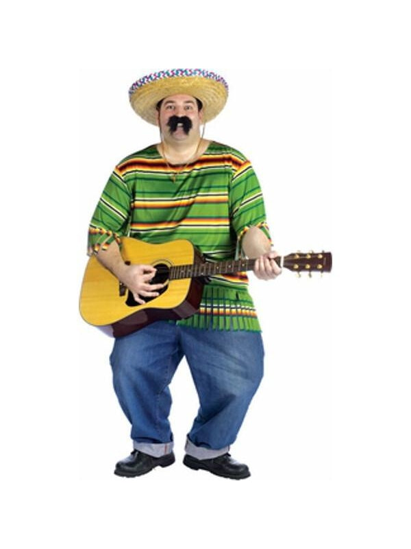 Adult Plus Size Mexican Serape And Hat Costume-COSTUMEISH