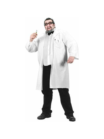 Adult Plus Size Nutty Professor Lab Coat Costume-COSTUMEISH