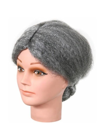 Old Lady Grey Bun Wig
