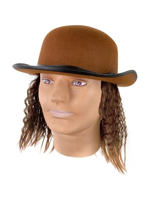 Adult Brown Hat With Wig-COSTUMEISH