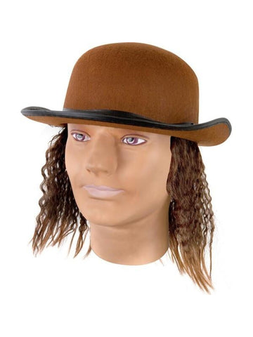 Adult Brown Hat With Wig