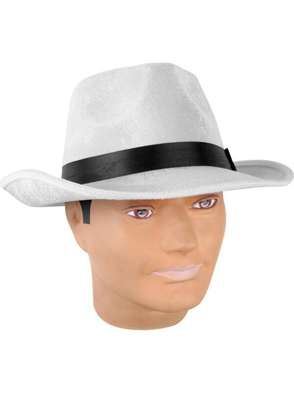 Adult White Velvet Fedora Hat-COSTUMEISH
