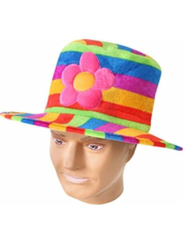Adult Rainbow Pride Hat With Flower