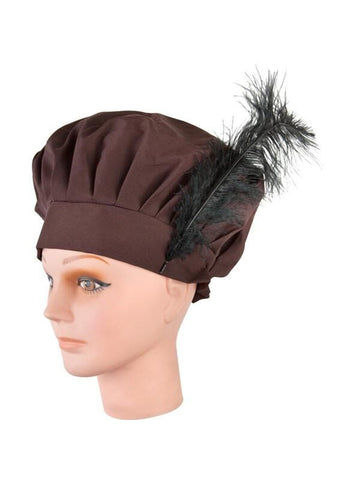 Womans Brown Hat With Feather