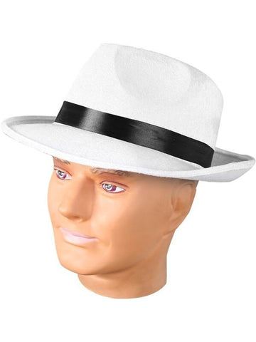 Adult White Fedora Gangster Hat-COSTUMEISH