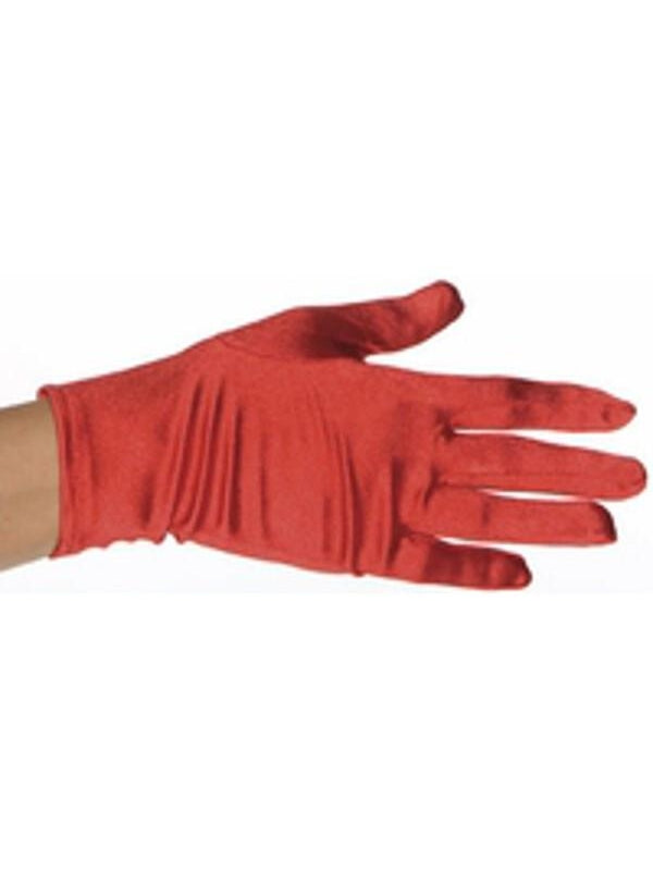 Adult Red Polyester Costume Gloves-COSTUMEISH